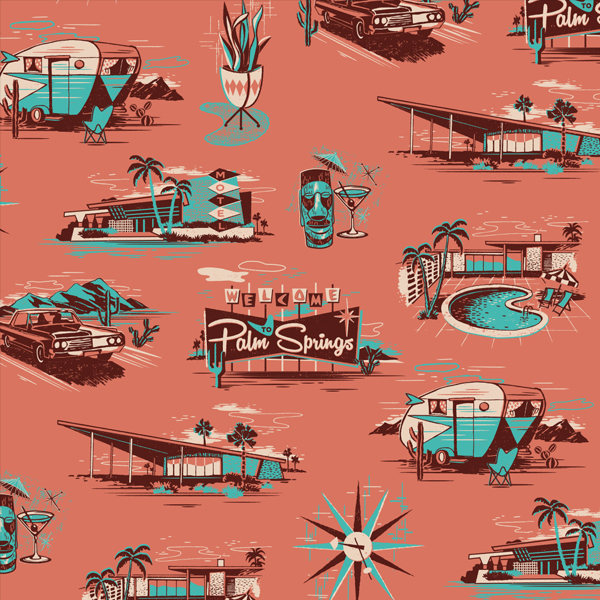 // Palm Springs themed repeat pattern