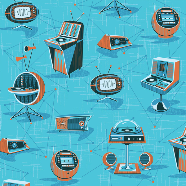 // Space Age Hi-Fi themed repeat pattern